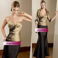 Women Champagne Coffee Mother of the Bride Gowns Dress Outfit Clothing SKU-1040069
