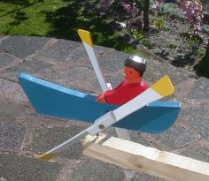Hand Made Wood Garden Feature Whirligig Windmill Man In Canoe