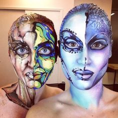 Face painting by world-renowned artist Corinne Perez from her #makeupforeveracademy master class.  The models are Dalia Filippi and Mickayla