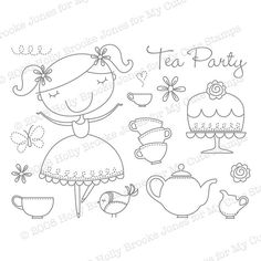 tea party: like the font, the butterfly and the birds too!