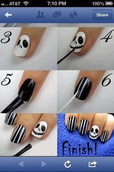 Jack from The nightmare before Christmas nails.