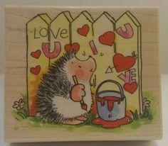 LOVE GRAFFITI 3773H Margaret Sherry Love Hedgehog Penny Black Stamp #0032