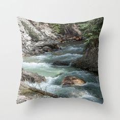 Mountain Waterfall Cushion Cover Turquoise by CrystalGaylePhoto