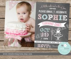 FIRST BIRTHDAY CHALKBOARD Invitation Birthday Party --- Personalized Colors and Doodles
