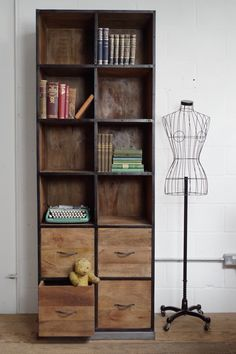 Wood and Iron Tall Bookcase
