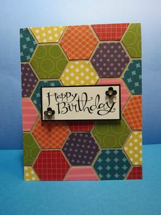 handmade quilt birthday card ... bright and colorful tonal small design papers cut with the hexagon punch form a patchwork background .... Stampin' Up!