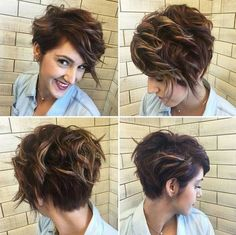 40 Best Pixie Haircuts for Women 2018 - Short Pixie Haircuts & Long Pixie Cuts - Einfache Frisuren Short Curly Haircuts, Curly Hair Cuts, Messy Hairstyles, Wavy Hair, New Hair, Curly Hair Styles, Long Hair, Short Summer Hairstyles, Wavy Updo