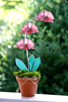 LARGE Pink Orchid Stained Glass Suncatcher, Potted Plant,Pink Orchid, 3d, Multi Flowered, Summer Decor, Home Decor