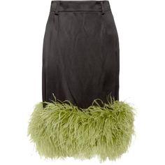 Prada Feather-trimmed satin midi skirt ($2,050) ❤ liked on Polyvore featuring skirts, black, prada, midi skirt, satin skirt, satin cami and mid calf skirts