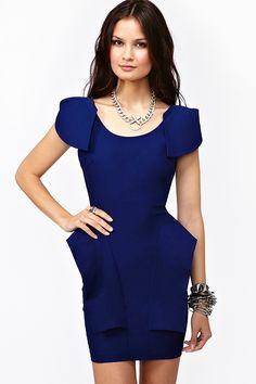 Victoria Peplum Dress - Cobalt