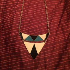 Color blocked necklace with gold chain Blue/ white and black triangle necklace Jewelry Necklaces