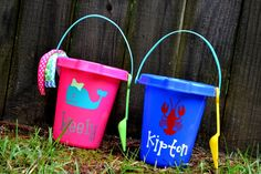 Personalized Sand Pails are a MUST HAVE for the beach and for summer! This listing is for one personalized Sand Pail! I can customize color of Sand Pail, color of Vinyl, Font, Graphic, and the size of the personalization as requested. I use professional grade outdoor vinyl, so no worries in the water!  I have hundreds of graphics, so anything you want- just ask! Examples- Mickey, Minnie, Crab, Lobster, Crawfish, Anchor, Chevron Monogram Circle, Dump Truck, Tractor, Girl or Boy Whale, Turtle…