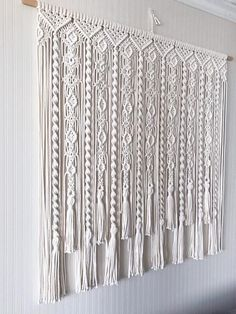 Macrame Curtain/ Large Macrame Wallhanging/ Kitchen Valance/ image 3 backdrop for pictures Macrame Design, Macrame Art, Macrame Projects, Macrame Knots, Micro Macrame, Macrame Wall Hanging Patterns, Large Macrame Wall Hanging, Macrame Patterns, Macrame Curtain