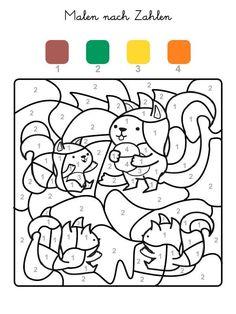 Felder Mit Der Zahl 1 Werden Braun 2 Grün 3 Gelb Und Alle 4 Orange Ausgemalt Wenn Ihr Kind Das