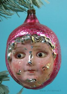 Antique Red Riding Hood head with glass eyes