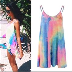 af7348934b7 Tie dye dress✨braided straps✨ This dress is BRAND NEW! Perfect to wear to  the beach pool summer days☀ ☀ ☀ Dresses Mini