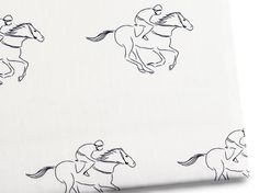 Go speed racer! Thisracehorse print twin sheet setcaptures theenergy andbeauty of a jockey and his horse in motion. Based on an original hand-drawn illustration, it's a little bit heritage and a bit mod—aperfectly Parisian print that lookstres chicon crisp linens. Sized for twin beds, thiscotton sateenset includes one fitted and one top sheet, plus a pillowcase.