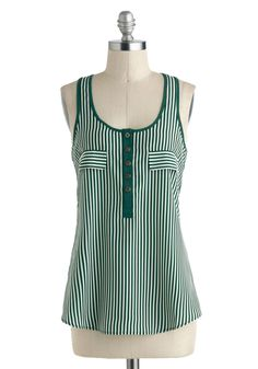 Up to the Stripe Top - Mid-length, Green, White, Stripes, Buttons, Casual, Tank top (2 thick straps), Racerback