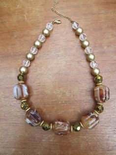 Chunky Vintage Statement Necklace with Lucite and Crystal Beads. $21.00, via Etsy.