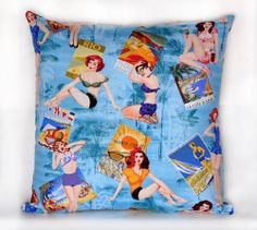 "14"" x 14"" Vintage Tropical Pinup Girls Decorative Pillow"