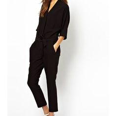 Mandy Jumpsuit (100 BGN) ❤ liked on Polyvore featuring jumpsuits, black, cotton jumpsuit and jump suit