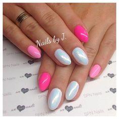 Landrynkowe cukierasy :) SPN Nails UV LaQ 502 My wedding dress, 561 Night in Miami, 613 First kiss, Mermaid effect, Nails by Julia Bartosz