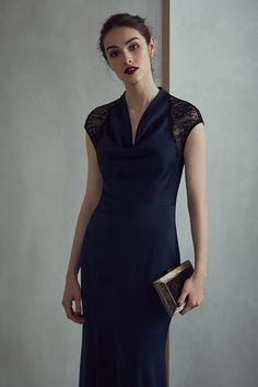 REISS - VITTORIA LACE-BACK EVENING GOWN in NIGHT NAVY