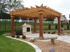 Half Circle Pergola Area With Fireplace Could Be Nice