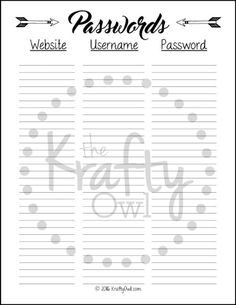 Free Printable Password Log  By Design Fixation  Ideas