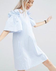 ASOS+WHITE+Stripe+Frill+Dress