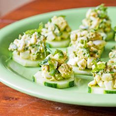 Avocado Pesto Egg Salad Bites - Like the idea of thin slices of Cucumber ....maybe use Egg Salad, Tuna Salad and Chicken Salad for a  Baby or Bridal Shower Appetizer!