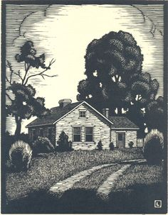 "By Herschel Logan.  ""Summer Day""    Block print, 1927    3.75 x 4.75"