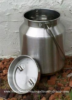Container: One Gallon Stainless steel Milk Can, friction fit lid, heavy duty pail. $30.00