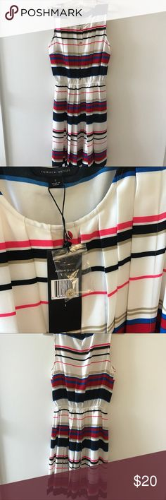 Tommy Hilfiger striped dress New with tags. Never worn. Gold button detailing (comes with extra button). Elastic waistband. Great for summertime parties! Tommy Hilfiger Dresses