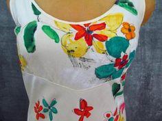"Jams World Hawaii Dress M V Neck 36"" Bust Artsy Cruise Hula Moon Confetti Petal #JamsWorldJamsWorld #Casual"