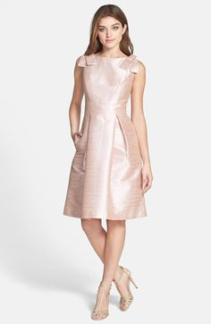 Alfred Sung Bateau Neck Bow Shoulder Dupioni Dress available at #Nordstrom