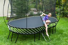 Springfree Trampolines are a safer bounce, thanks to these flexible rods in place of springs.