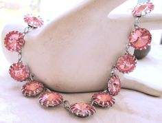 Marvelous pink large signed rhinestone necklace very by mickyme2
