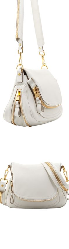 Color Story...Shades of White / Tom Ford Jennifer Medium Leather Crossbody Bag, White