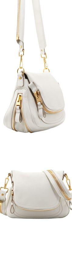 Color Story...Shades of White / Tom Ford Jennifer Medium Leather Crossbody Bag, White
