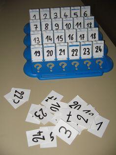 J'ai créé ce jeu en détournant le fameux &Qui est-ce ?&. Les personnages ont été remplacés par les nombres 1 à 24 (vous pouvez bien entendu cibler d'autes nombres). Les élèves doivent retrouver le nombre caché. Jeu 1 : Questions possibles : - Le nombre...
