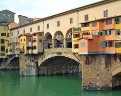 The Vasari Corridor in the Ponte Vecchio - The bridge vecchio over the river Arno in Florence