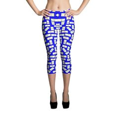 Printful Domino Tiles Capri Leggings Blue