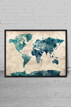 Map Watercolor Art, Wall Art, Map Art Print, Watercolor Painting, World Map Art, Home Decor, Art Print, World Map Poster-x81