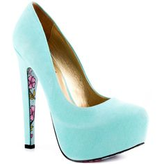 Taylor Says Calico High Heel Platform Pump ($100) ❤ liked on Polyvore featuring shoes, pumps, heels, teal, platform heels pumps, platform stilettos, stilettos shoes, platform shoes and round toe pumps