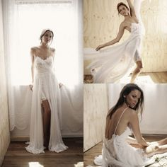 Bohemian Wedding Dress Sexy Backless Chiffon with Lace Slit Style Sweetheart with Straps Romantic Fashion Bride Dresses