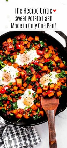 Sweet Potato Hash is a delicious savory breakfast that will leave you feeling full and satisfied. Everything is made in one pan making the cooking and cleaning easy. Breakfast for dinner never sounded so good! Sweet Potato Rice, Sweet Potato Dishes, Sweet Potato Pancakes, Sweet Potato Pecan, Mashed Sweet Potatoes, Savoury Dishes, Savory Breakfast, Breakfast For Dinner, Breakfast Recipes
