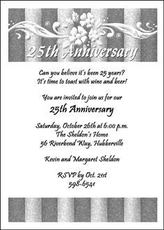 Unique 25th silver anniversary invitation wording verses and samples find largest selection of silver wedding anniversary invites online save with our 10 free silver wedding anniversary invites from cardsshoppe stopboris Image collections