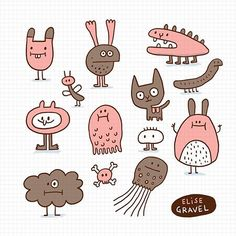 Which one would you adopt? Illustrations, Illustration Art, Collages, Ugly Dolls, Doll Crafts, Kid Crafts, Cute Monsters, Doodle Drawings, Minimalist Art