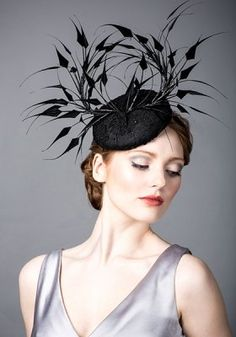 Luxury fascinators and milineries R14W27 - Black lace beret with spike feathers and jet